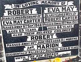 Grave of Robert & Eva May CARTER, also Robert & Marion